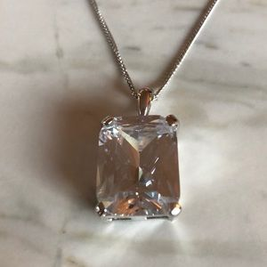 Large emerald cut crystal necklace